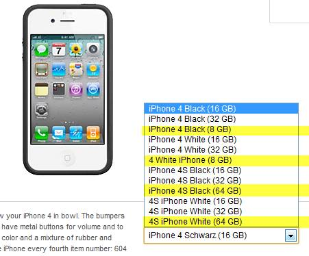 iPhone 4S 8GB, 16GB, 32GB, 64GB (4 Models) listings leaked at Vodafone Germany 4