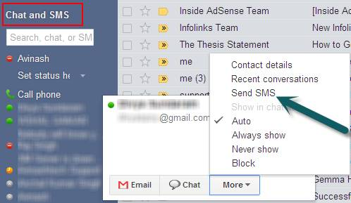 SMS in Gmail