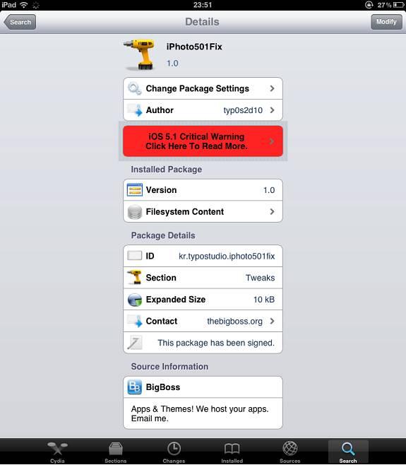 Fix iPhoto Crash on (Jailbroken) iOS 5.0.1 with iPhoto501Fix 2
