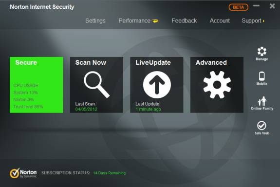 Download Norton Internet Security, Norton 360 2013 Beta with Windows 8 support 1
