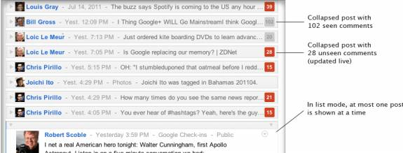 G+me - Collapse the Google+ stream into a real-time dashboard with G+me [Chrome]