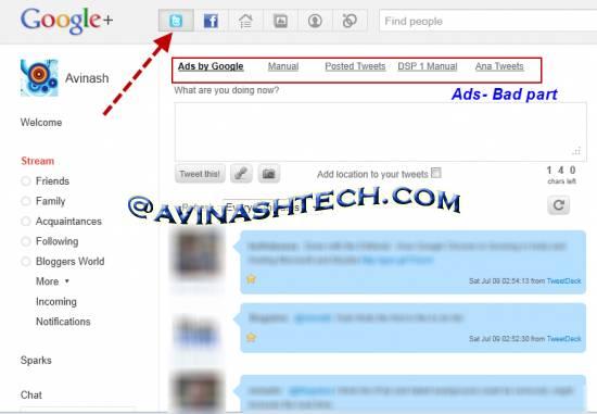 How to add Twitter inside Google+ stream