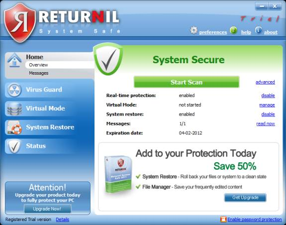 Returnil System safe 2011: Antivirus, Antimalware, System Restore and a virtual system [Review+ Giveaway]