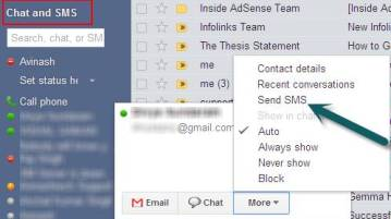 Send free SMS, Text Messages with Gmail Chat 5