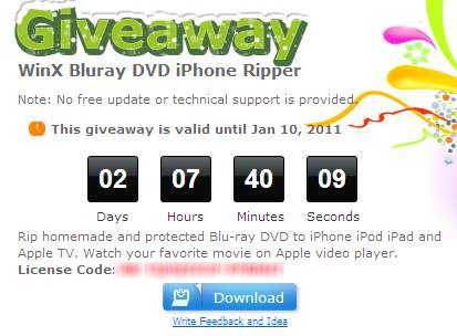 WinX Bluray DVD iPhone Ripper - Free WinX Bluray DVD iPhone Ripper license key Giveaway
