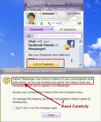 Yahoo messenger 11: Facebook Integration and Online History