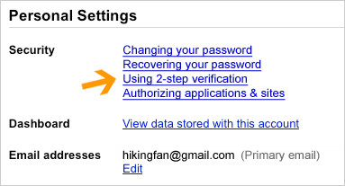 account settings page - Enable Advanced sign-in security for your Google account