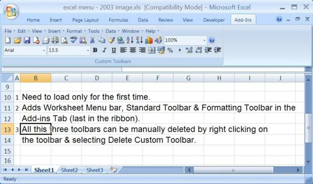 excelmenu2003 - Download Free Classic Menu Add-ins for Office 2007