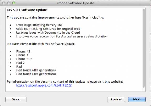 iOS 5.0.1 iphoneupdate - Apple rolls out iOS 5.0.1 to fix iOS5 Battery Issues [Direct Download links]