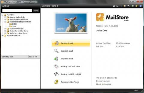 mailstore 480x310 - Backup all email messages of Outlook, Windows Mail, Thunderbird, POP/IMAP (Gmail, Yahoo)