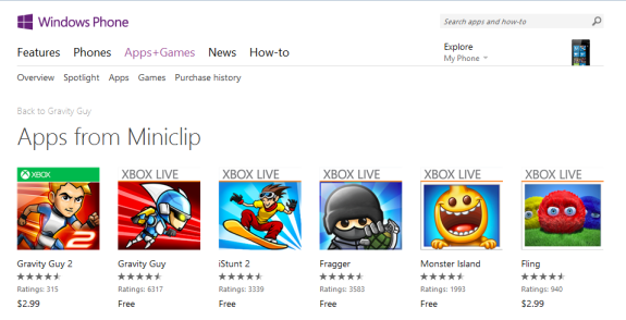 Miniclip Windows Phone Store e1365605399685 - Four games from Miniclip are now free in the Windows Phone Store