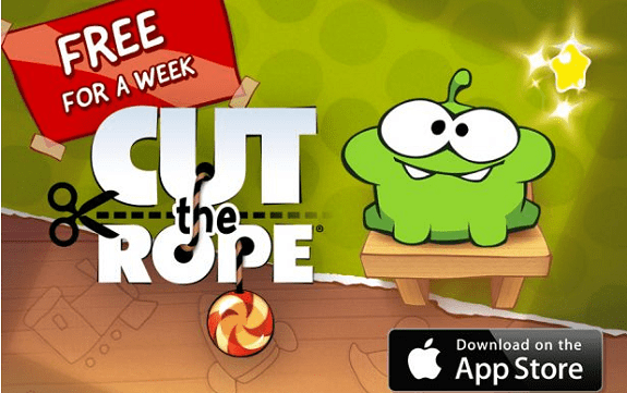 "Download ""Cut the Rope"" for free for a week on AppStore for iPhone, iPad"
