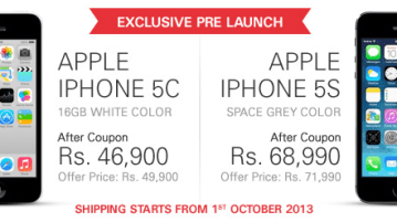 iPhone 5C and 5S - iPhone 5S and iPhone 5C up for preorder at ebay India for Rs 68,990 and Rs 46,990