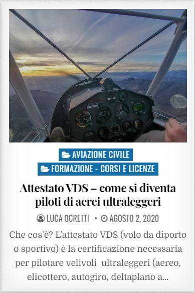 Attestato vds per diventare piloti di aerei ultraleggeri