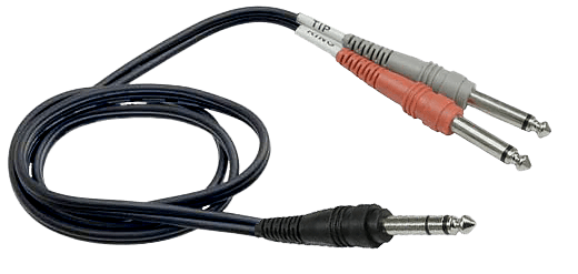 A insert cable has a TRS connector that gets split into individual TS plug for left and right.
