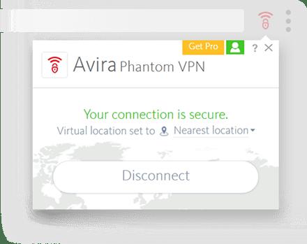 Avira Phantom VPN Browsers Screenshot