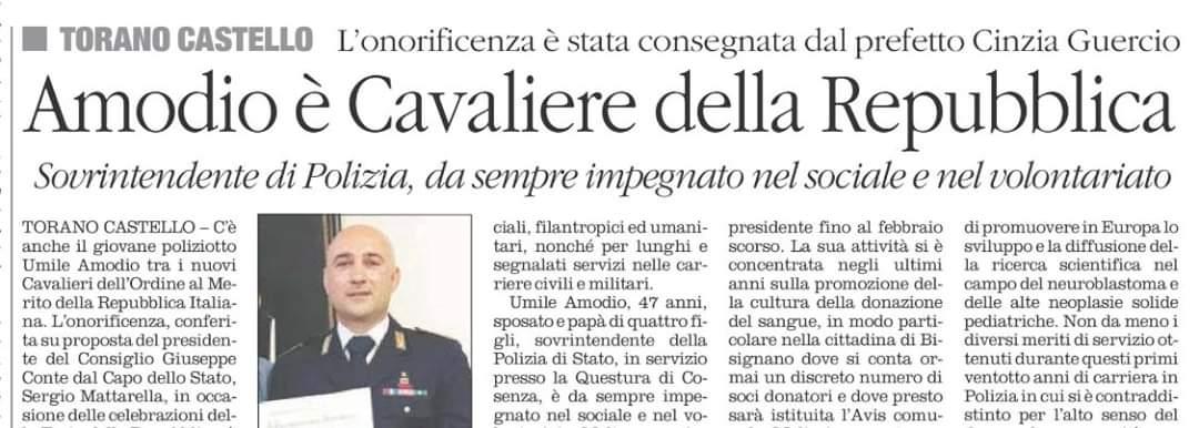 Il Vice Presidente dell'Avis di Torano Castello insignito dell'onorificenza di Cavaliere della Repubblica