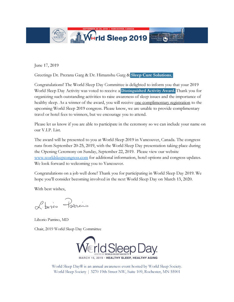 world sleep day 2019 distinguished activity award sleep cure solutions