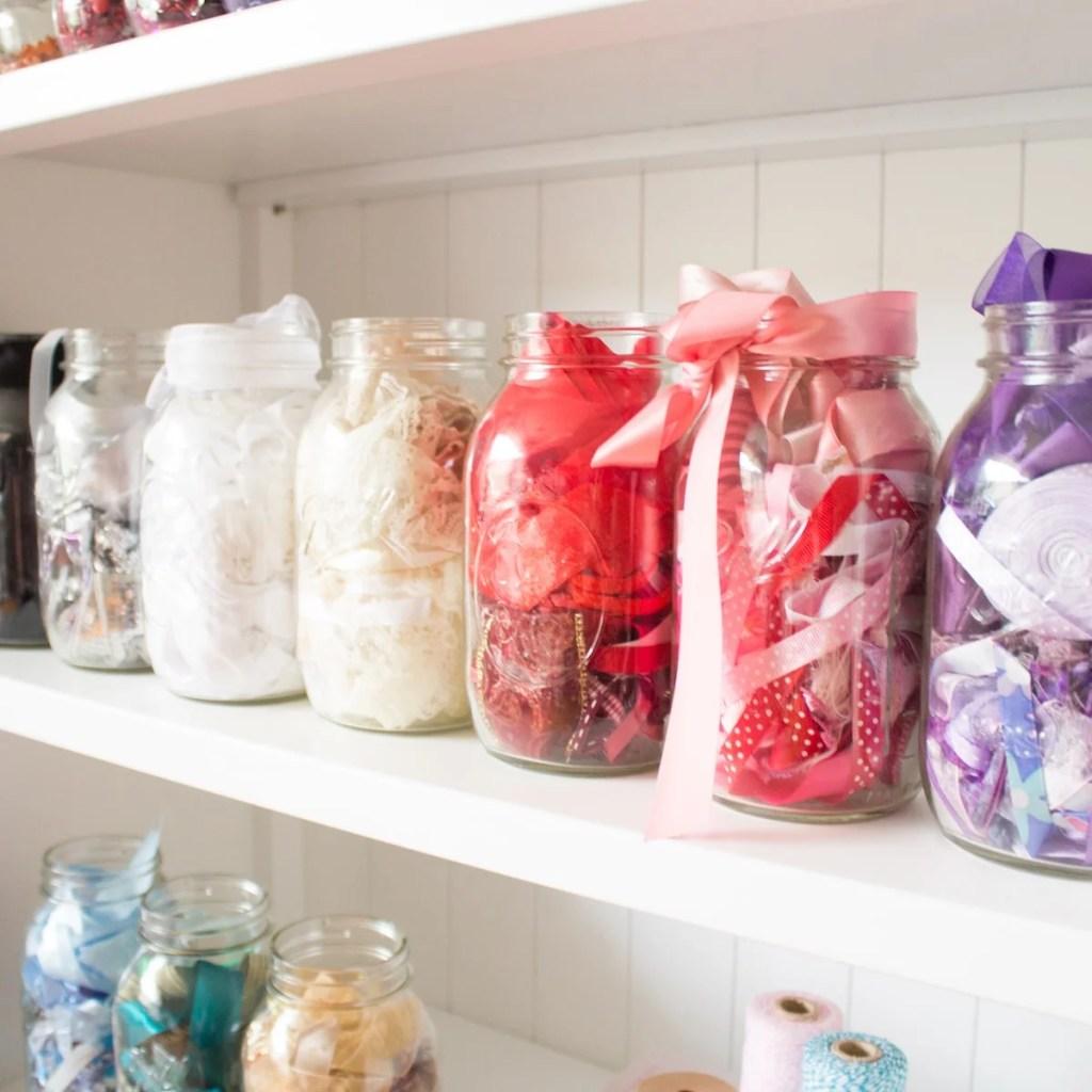 Ribbons in mason jars