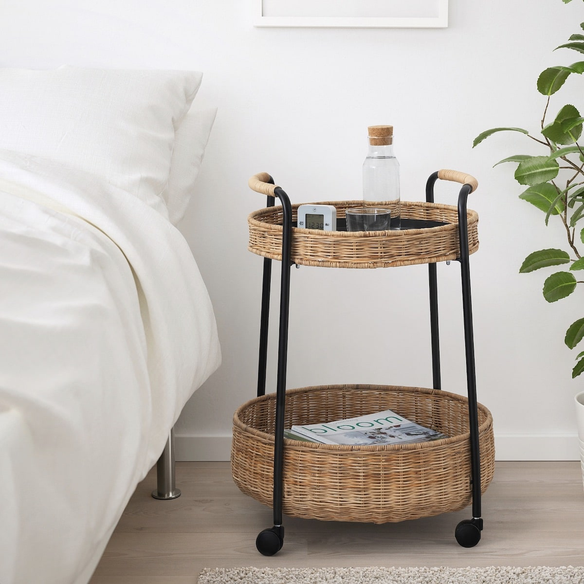 Latest IKEA product LUBBAN Rattan Trolley Table with Storage