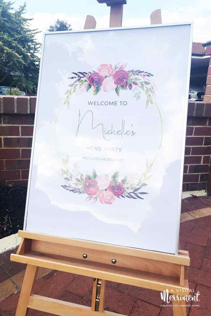 bachelorette party welcome sign on easel