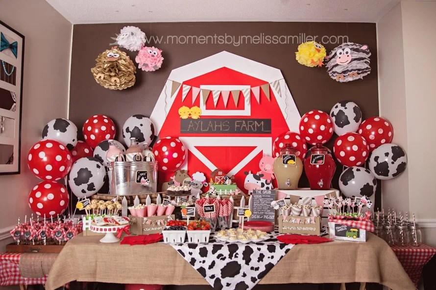 barnyard animal farm boys birthday party buffet