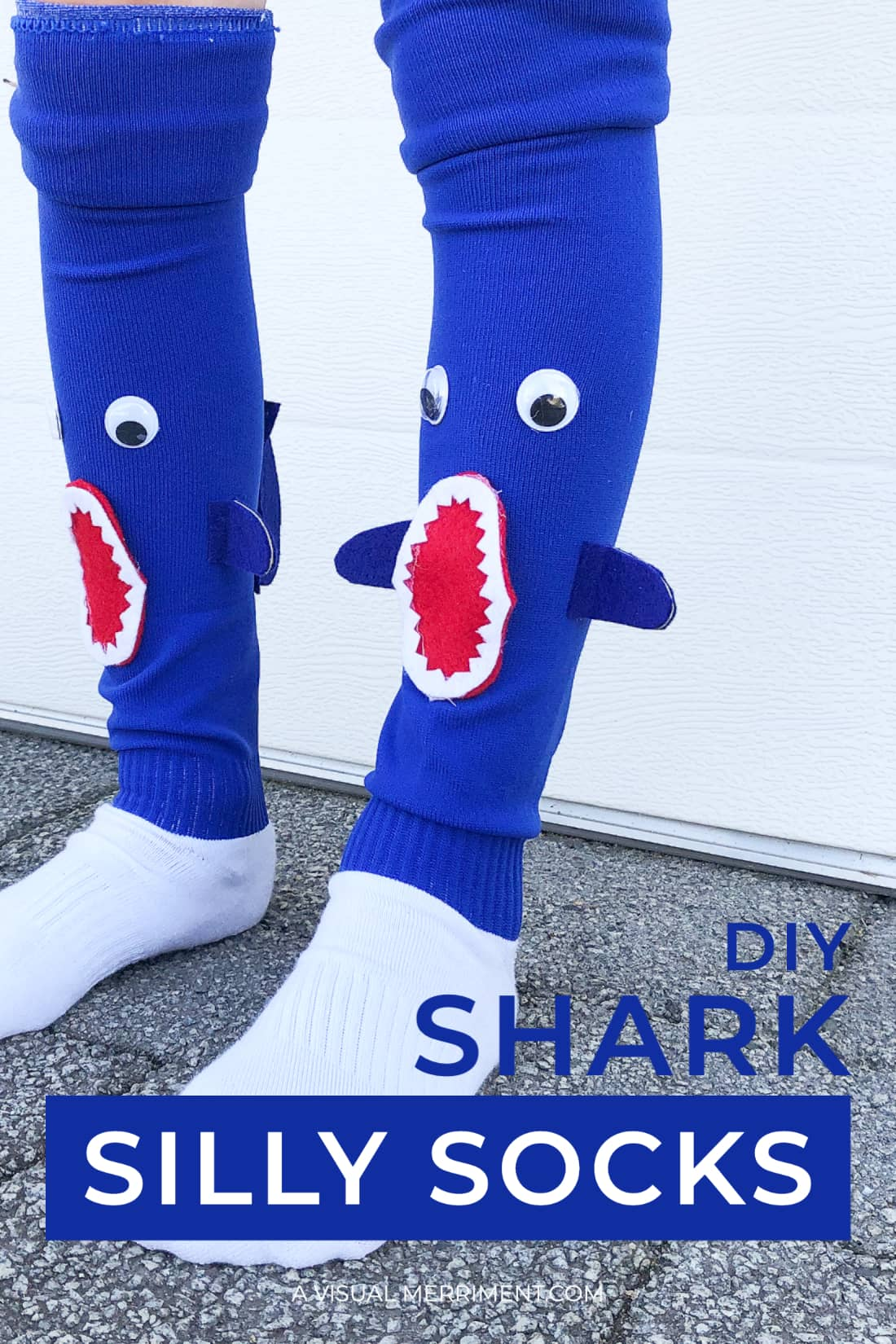shark silly sock graphic in blue