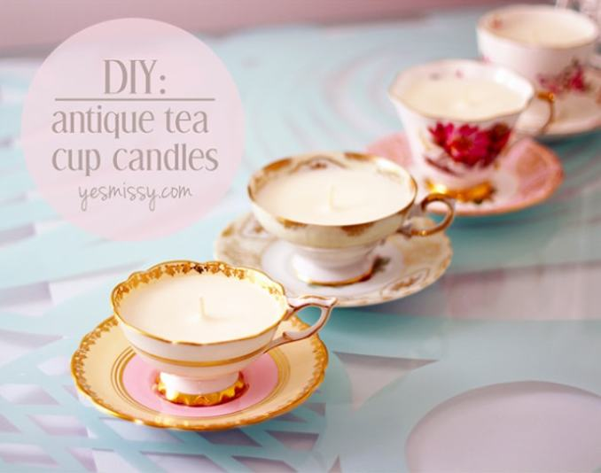 DIY 25 Handmade Gifts to Craft Your Loved Ones (or sell them, they're that good!)   DIY Antique Tea Cup Candles   A Visual Merriment