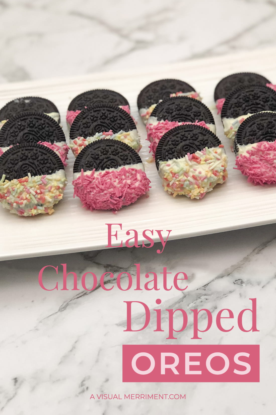 Oreos with chocolate and sprinkles on white plate and marble top