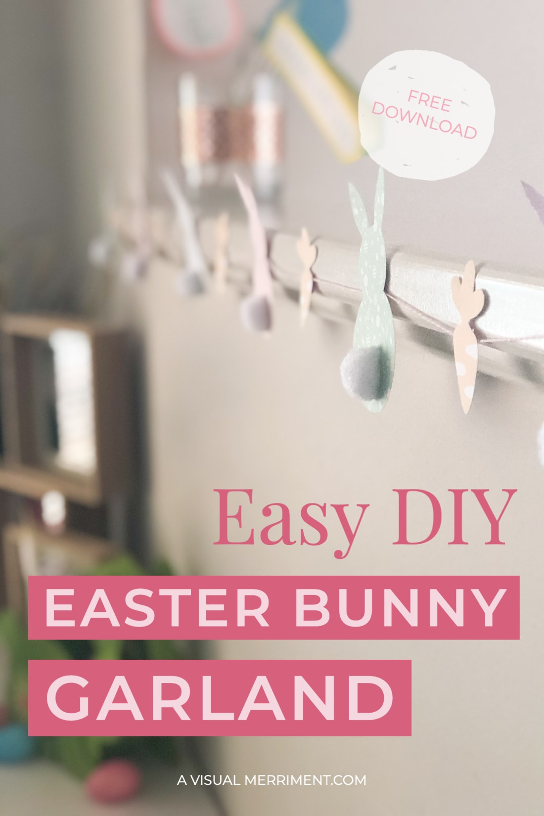 Hanging easter bunny garland with title