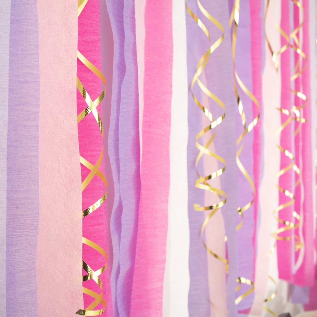 Close up of streamer party backdrop