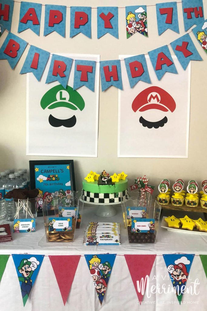 Super Mario Birthday Party food buffet with printables