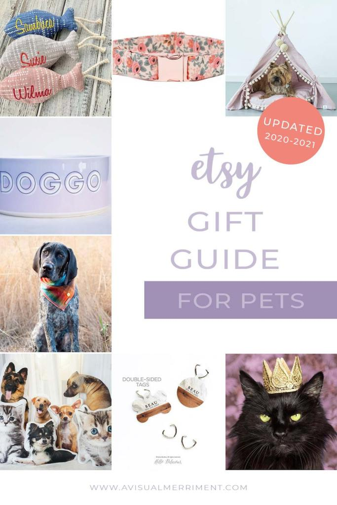 various pet gift ideas available on etsy graphic