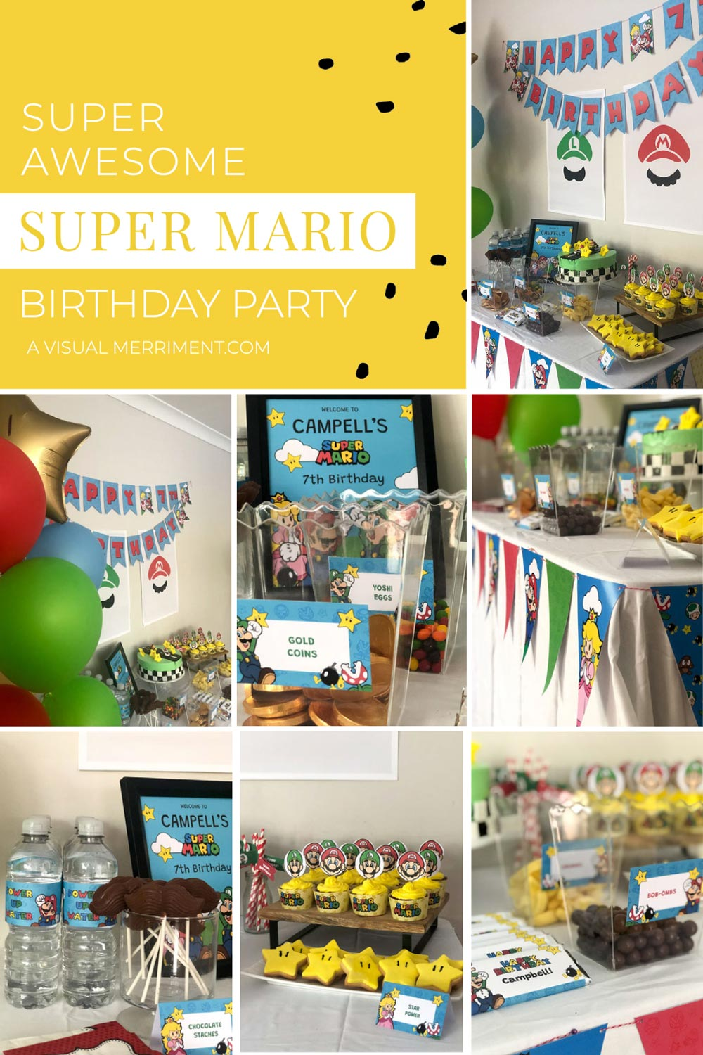 Multiple images of super mario brothers themed party food and printables