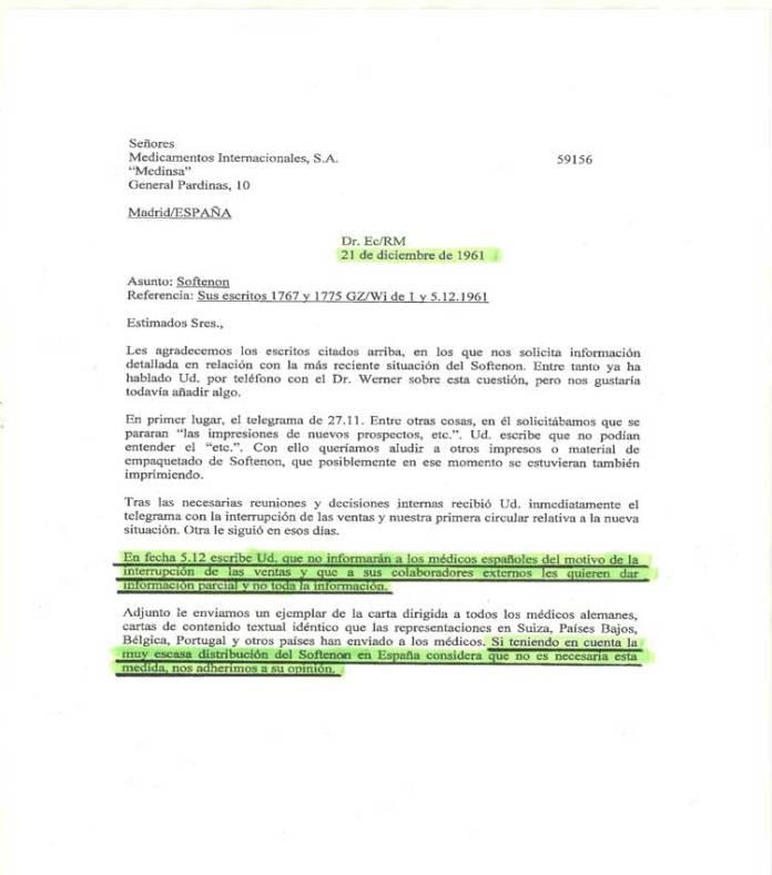 CARTA GRUNENTHAL A ESPAÑA NO INFORMAR MOTIVO RETIRADA TALIDOMIDA EN EL MUNDO