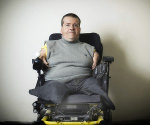 Thalidomide victims campaigner Freddie Astbury ..Freddie Astbury pictured at his home in Liverpool , Hewas born with stunted arms and legs caused by the drug thalidomide which was prescribed to pregnant mothers to combat morning sickness. Picture credit Paul Cooper