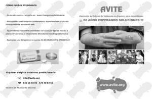 Diptico que AVITE va a entregar a los médicos asistentes al SEMERGEN 2016 donde se resumen la problemática y las necesidades de los afectados de Talidomida españoles.