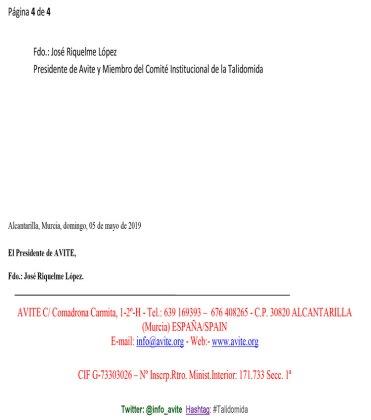 Sanidad oculta datos a AVITE y no es transparente talidomida grunenthal