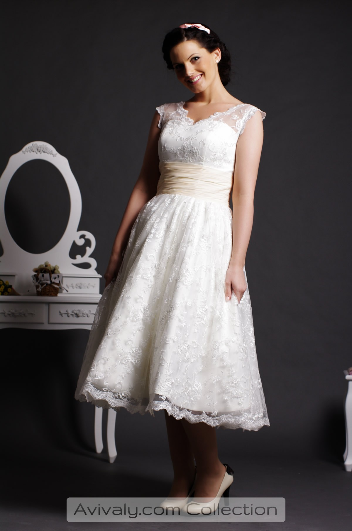 Willow Scalloped Edge Lace Layered Tea Length Ball Gown