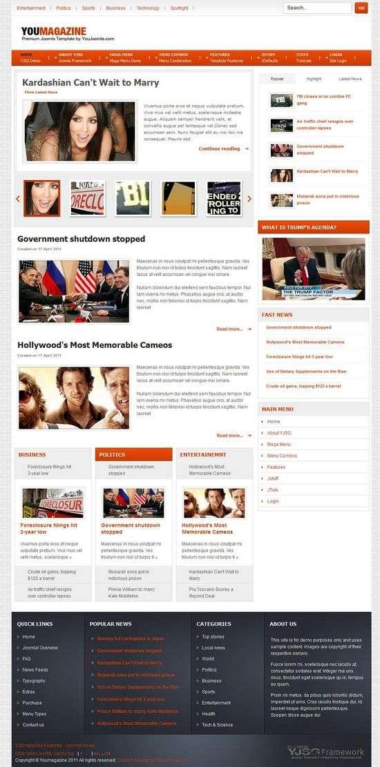 you magazine joomla template - YouMagazine Joomla Template