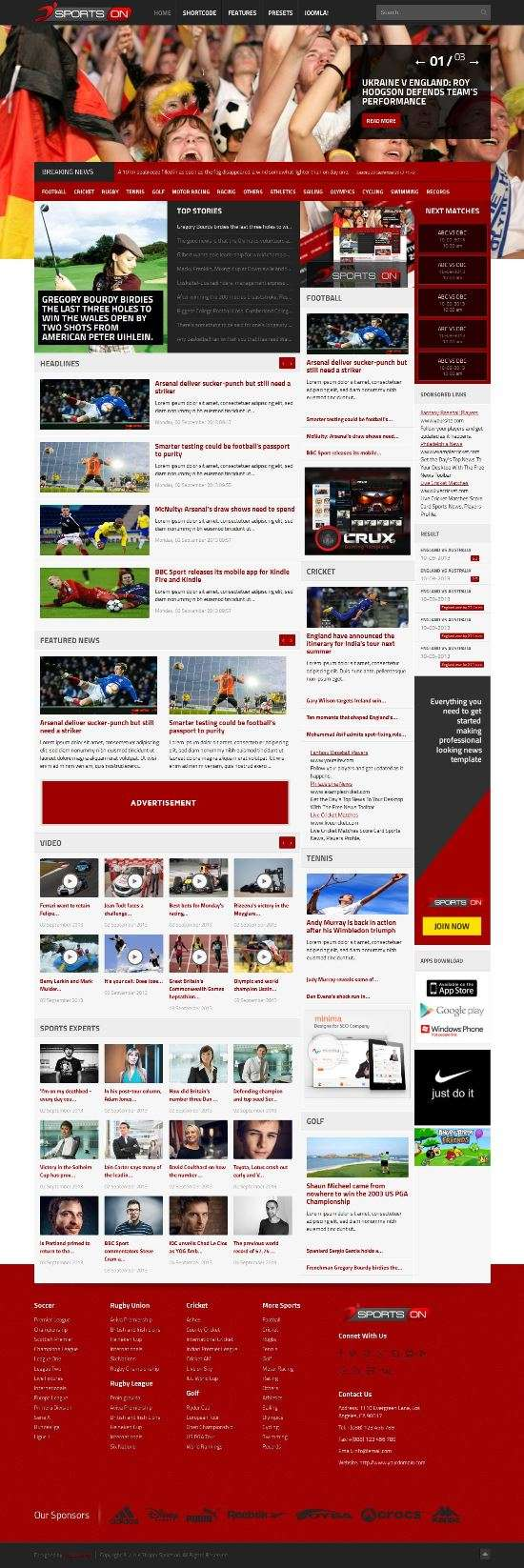 sportson joomshaper avjthemescom 01 - Shaper SportsOn Joomla Template