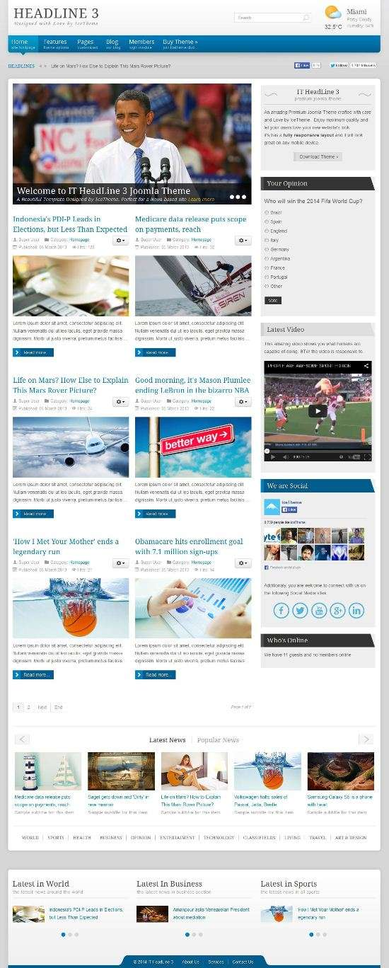 it headline 3 icetheme news - IT HeadLine 3 Joomla Template