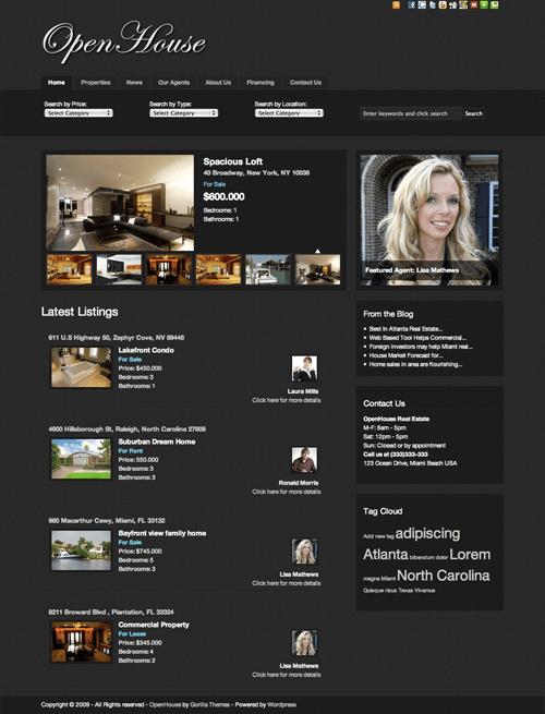 open house avjthemescom gorilla themes - OpenHouse Real Estate