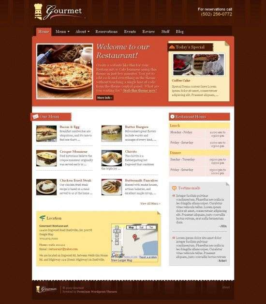 gourmet premiumthemes.net wordpress theme 550x627 - Gourmet Wordpress Theme
