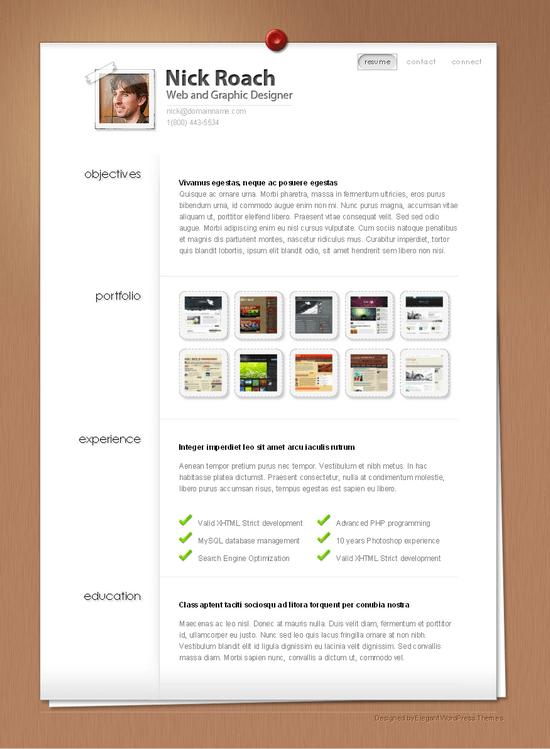 myresume elegant wordpress theme - MyResume Premium Wordpress Theme