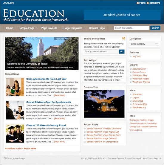 education genesis child theme - Education Premium WordPress Child Theme