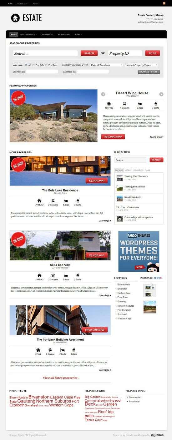 estate real estate wordpress theme - Woothemes Estate Premium WordPress Theme