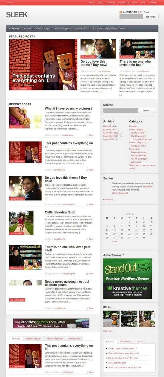 sleek wordpress theme - Sleek Premium WordPress Theme