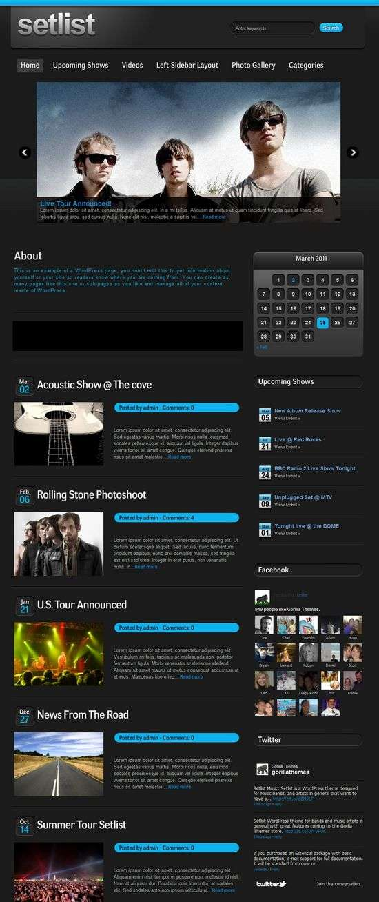 setlist wordpress music theme - Setlist Music Premium WordPress Theme