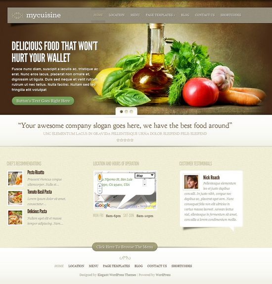 my cuisine wordpress theme - MyCuisine Premium WordPress Theme